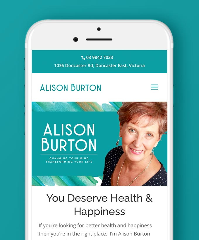 Website Design for Alison Burton, Health and Happiness Guru