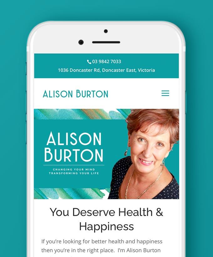Website Design for Alison Burton, Health and Happiness Guru