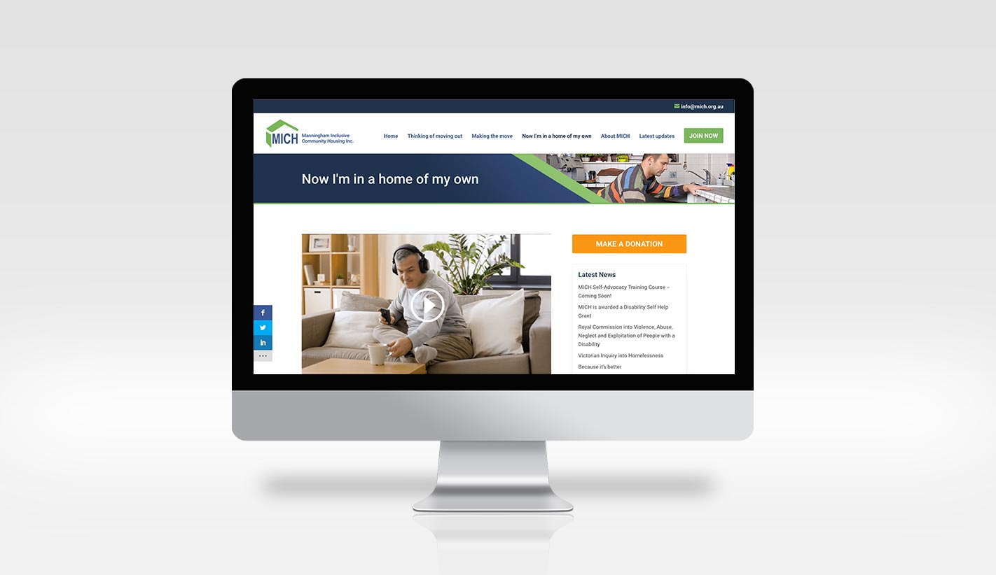Website Design for Manningham Inclusive Community Housing