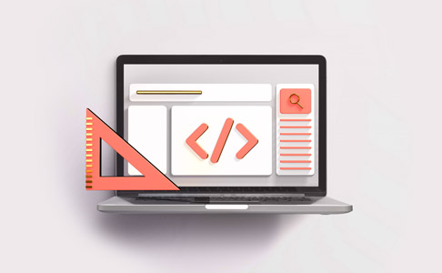 Laptop visualising design with ruler and code icon