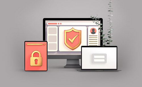 Computer with security icon